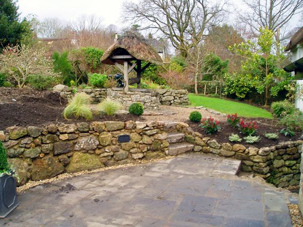 Garden-Landscaping-Granite-Stone-Wall-Bovey-Tracy-Devon