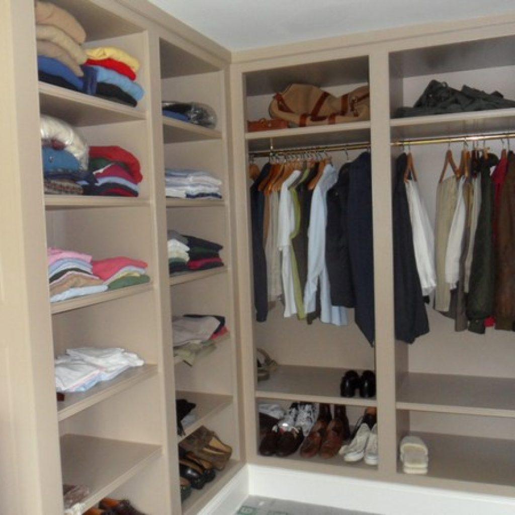 Custom Built Oak Wood Walk In Closet Shelves