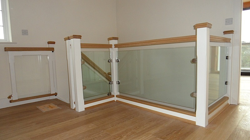 Oak Glass Panel Staircase Devon Builders Carpenters